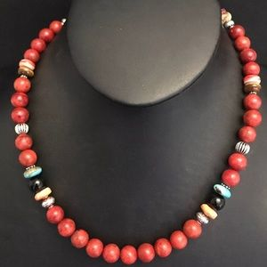 Sterling Silver Apple Coral Coral Bead Necklace